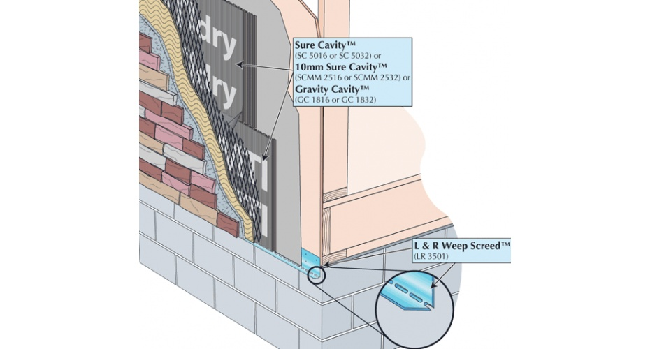 Thin Stone Veneer at Bottom of Wall with L&R Weep Screed™