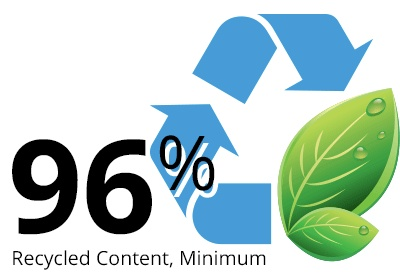 Over 96% recycled content